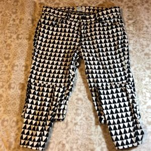 Black and white patterned pants.